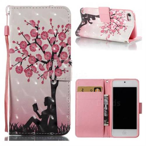 Plum Girl 3D Painted Leather Wallet Case for iPod Touch 5 6