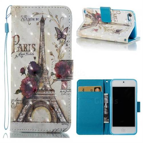 Flower Eiffel Tower 3D Painted Leather Wallet Case for iPod Touch 5 6