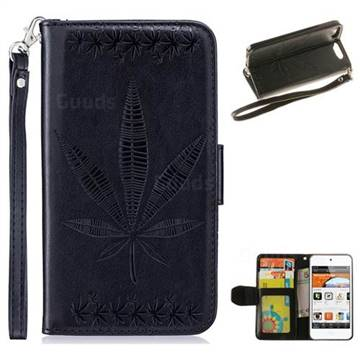 Intricate Embossing Maple Leather Wallet Case for iPod Touch 5 6 - Black