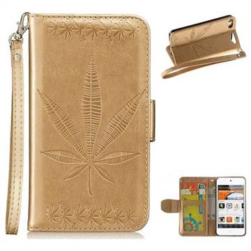 Intricate Embossing Maple Leather Wallet Case for iPod Touch 5 6 - Champagne