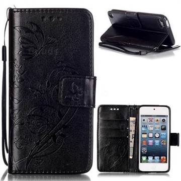 Embossing Butterfly Flower Leather Wallet Case for iPod Touch 5 6 - Black