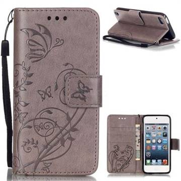 Embossing Butterfly Flower Leather Wallet Case for iPod Touch 5 6 - Grey