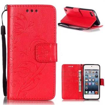 Embossing Butterfly Flower Leather Wallet Case for iPod Touch 5 6 - Red