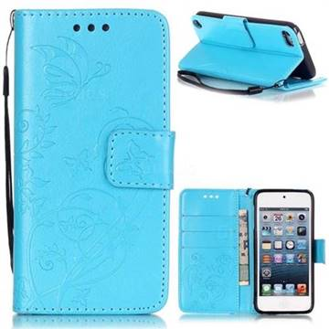 Embossing Butterfly Flower Leather Wallet Case for iPod Touch 5 6 - Blue