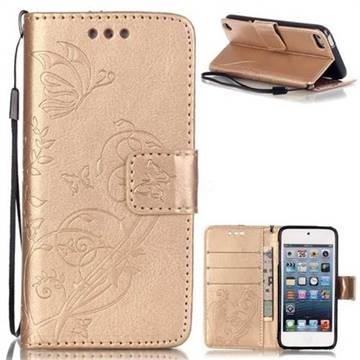 Embossing Butterfly Flower Leather Wallet Case for iPod Touch 5 6 - Champagne