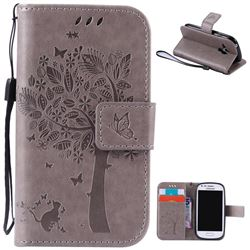 Embossing Butterfly Tree Leather Wallet Case for Samsung Galaxy S3 III Mini i8190 - Grey