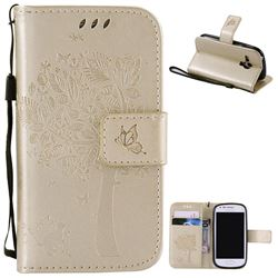Embossing Butterfly Tree Leather Wallet Case for Samsung Galaxy S3 III Mini i8190 - Champagne
