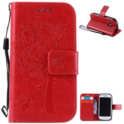 Embossing Butterfly Tree Leather Wallet Case for Samsung Galaxy S3 III Mini i8190 - Red