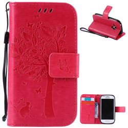 Embossing Butterfly Tree Leather Wallet Case for Samsung Galaxy S3 III Mini i8190 - Rose