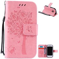 Embossing Butterfly Tree Leather Wallet Case for Samsung Galaxy S3 III Mini i8190 - Pink