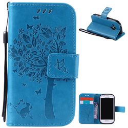 Embossing Butterfly Tree Leather Wallet Case for Samsung Galaxy S3 III Mini i8190 - Blue