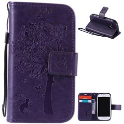 Embossing Butterfly Tree Leather Wallet Case for Samsung Galaxy S3 III Mini i8190 - Purple