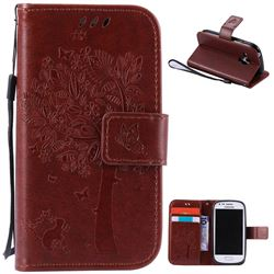 Embossing Butterfly Tree Leather Wallet Case for Samsung Galaxy S3 III Mini i8190 - Brown