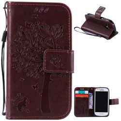 Embossing Butterfly Tree Leather Wallet Case for Samsung Galaxy S3 III Mini i8190 - Coffee