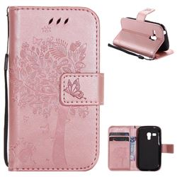 Embossing Butterfly Tree Leather Wallet Case for Samsung Galaxy S3 Mini i8190 - Rose Pink