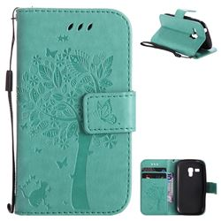 Embossing Butterfly Tree Leather Wallet Case for Samsung Galaxy S3 Mini i8190 - Cyan