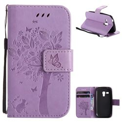 Embossing Butterfly Tree Leather Wallet Case for Samsung Galaxy S3 Mini i8190 - Violet
