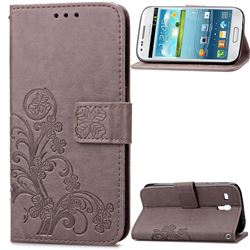 Embossing Imprint Four-Leaf Clover Leather Wallet Case for Samsung Galaxy S3 Mini i8190 - Gray