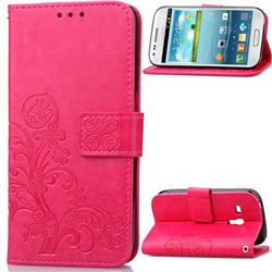 Embossing Imprint Four-Leaf Clover Leather Wallet Case for Samsung Galaxy S3 Mini i8190 - Rose