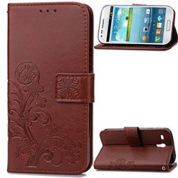Embossing Imprint Four-Leaf Clover Leather Wallet Case for Samsung Galaxy S3 Mini i8190 - Brown