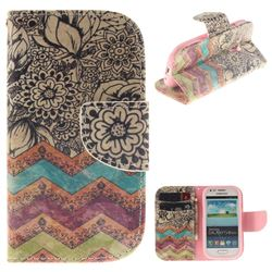 Wave Flower PU Leather Wallet Case for Samsung Galaxy S3 Mini i8190