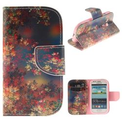 Colored Flowers PU Leather Wallet Case for Samsung Galaxy S3 Mini i8190