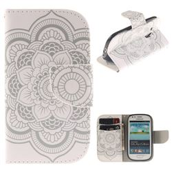 White Flowers PU Leather Wallet Case for Samsung Galaxy S3 Mini i8190