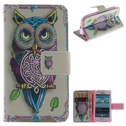 Weave Owl PU Leather Wallet Case for Samsung Galaxy S3 Mini i8190