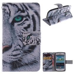 White Tiger PU Leather Wallet Case for Samsung Galaxy S3 Mini i8190