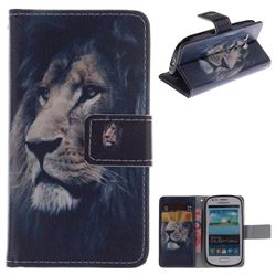 Lion Face PU Leather Wallet Case for Samsung Galaxy S3 Mini i8190