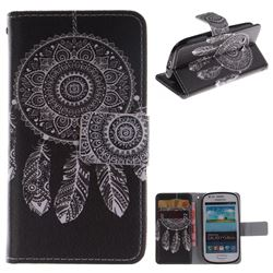 Black Wind Chimes PU Leather Wallet Case for Samsung Galaxy S3 Mini i8190
