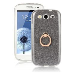 Luxury Soft TPU Glitter Back Ring Cover with 360 Rotate Finger Holder Buckle for Samsung Galaxy S3 - Black