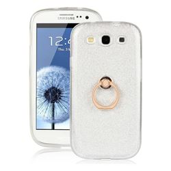 Luxury Soft TPU Glitter Back Ring Cover with 360 Rotate Finger Holder Buckle for Samsung Galaxy S3 - White