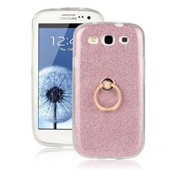 Luxury Soft TPU Glitter Back Ring Cover with 360 Rotate Finger Holder Buckle for Samsung Galaxy S3 - Pink