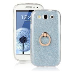 Luxury Soft TPU Glitter Back Ring Cover with 360 Rotate Finger Holder Buckle for Samsung Galaxy S3 - Blue