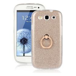 Luxury Soft TPU Glitter Back Ring Cover with 360 Rotate Finger Holder Buckle for Samsung Galaxy S3 - Golden