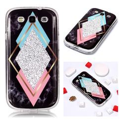 Black Diamond Soft TPU Marble Pattern Phone Case for Samsung Galaxy S3