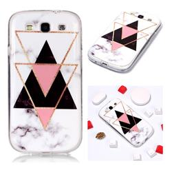 Inverted Triangle Black Soft TPU Marble Pattern Phone Case for Samsung Galaxy S3
