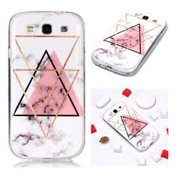 Inverted Triangle Powder Soft TPU Marble Pattern Phone Case for Samsung Galaxy S3
