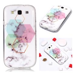 Hexagonal Soft TPU Marble Pattern Phone Case for Samsung Galaxy S3