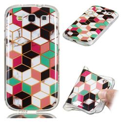 Three-dimensional Square Soft TPU Marble Pattern Phone Case for Samsung Galaxy S3