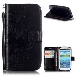 Embossing Butterfly Flower Leather Wallet Case for Samsung Galaxy S3 i9300 - Black