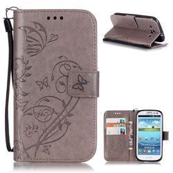 Embossing Butterfly Flower Leather Wallet Case for Samsung Galaxy S3 i9300 - Grey