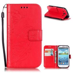 Embossing Butterfly Flower Leather Wallet Case for Samsung Galaxy S3 i9300 - Red