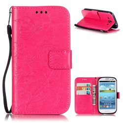 Embossing Butterfly Flower Leather Wallet Case for Samsung Galaxy S3 i9300 - Rose