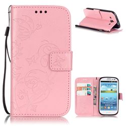 Embossing Butterfly Flower Leather Wallet Case for Samsung Galaxy S3 i9300 - Pink