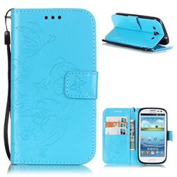 Embossing Butterfly Flower Leather Wallet Case for Samsung Galaxy S3 i9300 - Blue