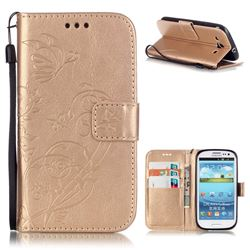 Embossing Butterfly Flower Leather Wallet Case for Samsung Galaxy S3 i9300 - Champagne