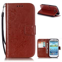Embossing Butterfly Flower Leather Wallet Case for Samsung Galaxy S3 i9300 - Brown