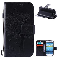 Embossing Butterfly Tree Leather Wallet Case for Samsung Galaxy S3 - Black